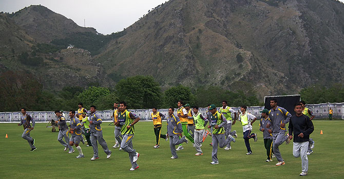 Pakistan's cricket team during a training session in Abbottabad. -Photo courtesy: PCB
