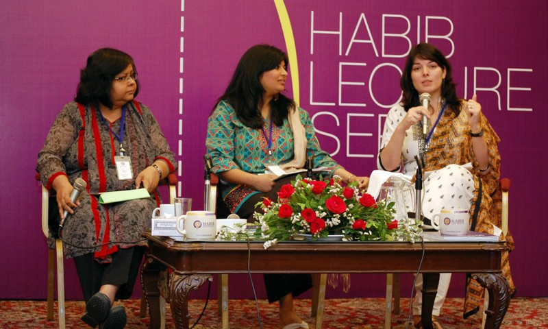 The panelists Jehan Ara, Sheba and Nida pictured at the discussion. — Spider Magazine Photo
