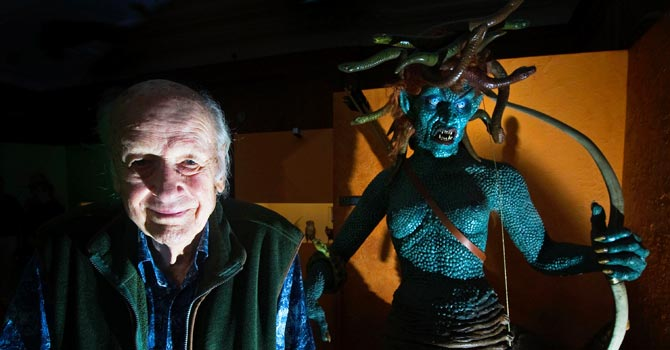 US film producer and special effects creator Ray Harryhausen poses for photographers next to his creation Medusa, which appeared in the film Clash of the Titans, at the London Film Museum in London. —AFP (File) Photo