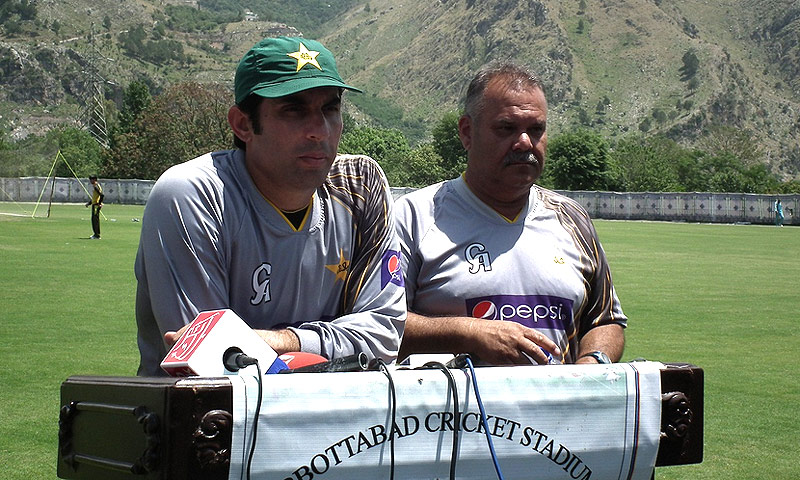 Pakistan captain Misbah-ul-Haq addresses a press conference at the team's training camp in Abbottabad. -Photo courtesy PCB