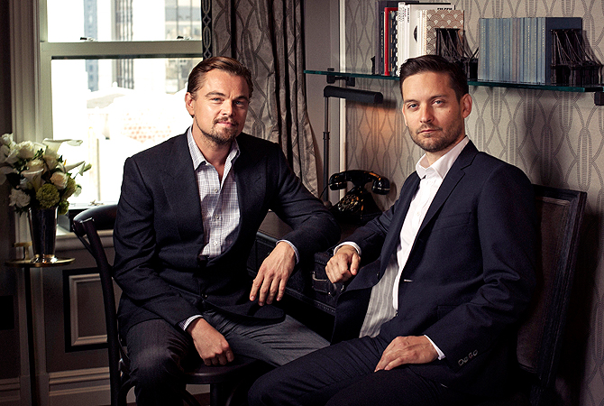 Tobey Maguire as Nick Carraway and Leonardo DiCaprio as Jay Gatsby. — AP Photo