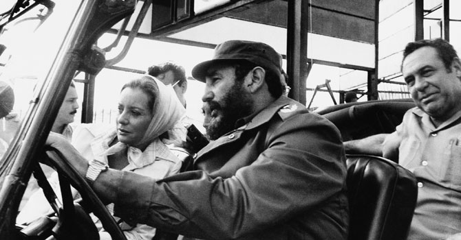 ABC news correspondent Barbara Walters is driven on a sightseeing tour by Fidel Castro in this June 6, 1977 file photo taken in Cuba. —AP (File) Photo