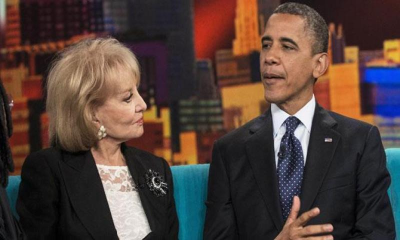 "This file photo taken on September 24, 2012 shows Barbara Walters listening as US President Barack Obama speaks during a break in a taping of ""The View"". —AFP (File) Photo"
