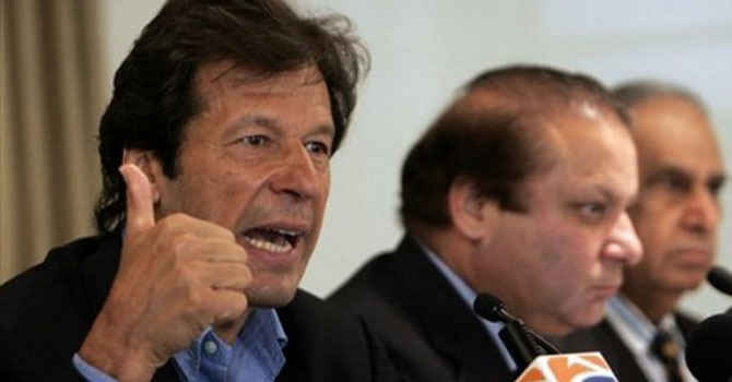 This file photo shows Imran Khan and Nawaz Sharif addressing a press conference.