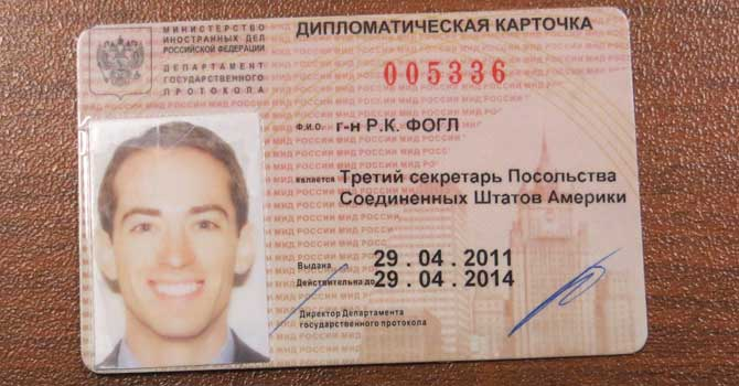 A handout photo shows a document described as owned by Ryan Fogle in this undated handout photograph released by the Press service of Russian Federal Security Service May 14, 2013. – Reuters