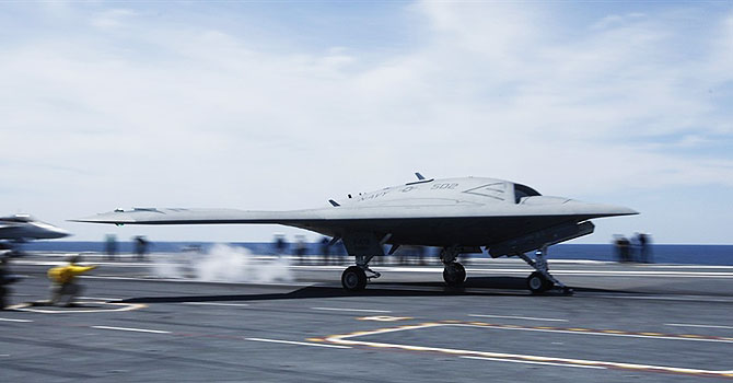 A X-47B drone is launched for the first time off an aircraft carrier, on May 14. —Reuters Photo