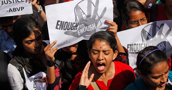 A student shouts slogans seeking punishment for rapists of the 23-year-old woman, during a protest in Bangalore, January 4, 2013. — Photo by AP/File