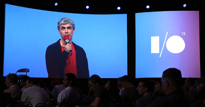Larry Page, Google co-founder and CEO speaks during the opening keynote at the Google I/O developers conference at the Moscone Center on May 15, 2013 in San Francisco, California. — AFP Photo