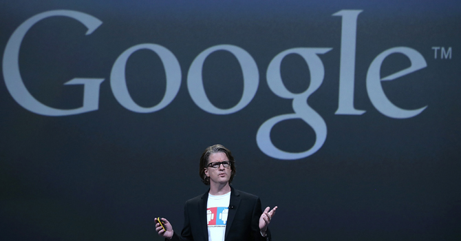 Chris Yerga, Google engineering director for Android, speaks during the opening keynote at the Google I/O developers conference at the Moscone Center on May 15, 2013 in San Francisco, California. — AFP Photo