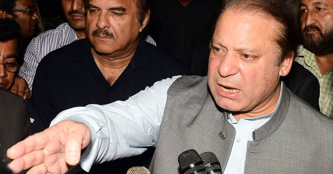 Pakistan's newly elected Prime Minister Nawaz Sharif speaks to the media in Lahore, on May 14, 2013. — Photo by AFP