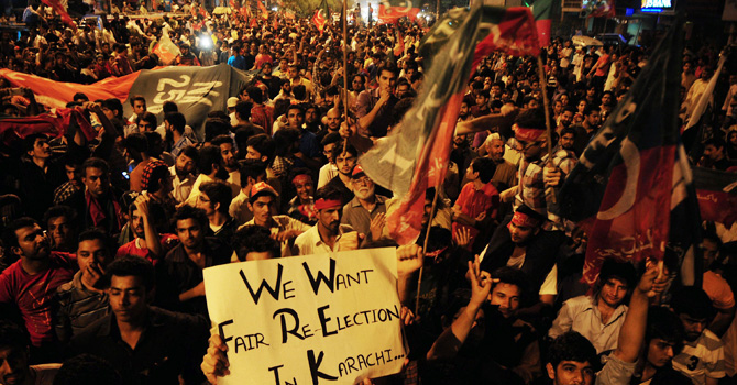 PTI protests against alleged rigging in Karachi this week. — AFP Photo