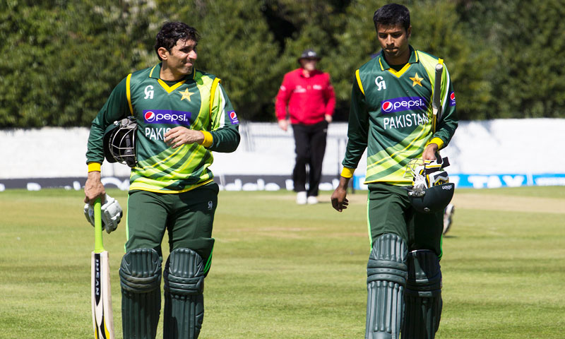 Misbah ul Haq and Ehsan Adil. -Photo by Faras Ghani/Dawn.com