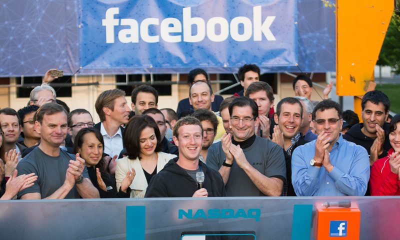 In this May 18, 2012, file photo, provided by Facebook, Facebook founder, Chairman and CEO Mark Zuckerberg, center, rings the opening bell of the Nasdaq stock market, from Facebook headquarters in Menlo Park, California. — AP (File Photo)