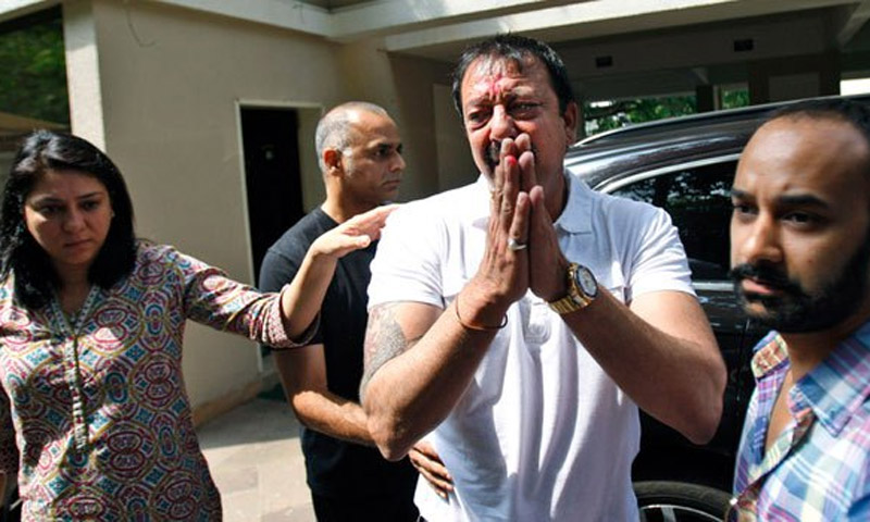 Bollywood star Sanjay Dutt is serving  the remaining three-and-a-half years of his jail sentence for possessing illegal weapons, in a case linked to deadly bomb blasts in Mumbai 20 years ago.—File Photo