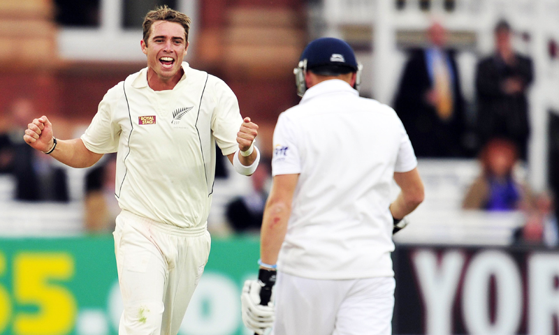 Tim Southee celebrates a wicket. -Photo by AFP