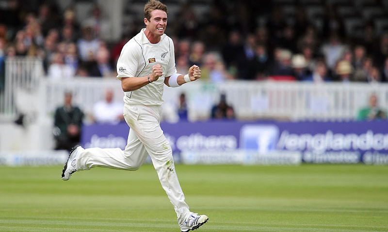 Southee removed Steven Finn, Ian Bell and Graeme Swann in quick succession to complete figures of six for 50. -Photo by AFP