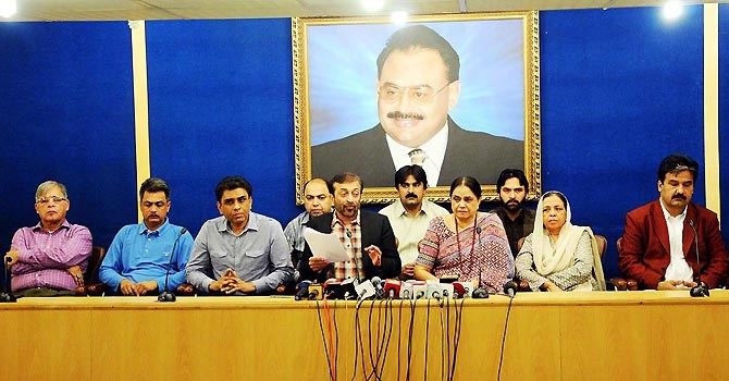 Deputy Convener of MQM Dr Farooq Sattar speaks during a press conference at Nine Zero.-ONLINE File Photo