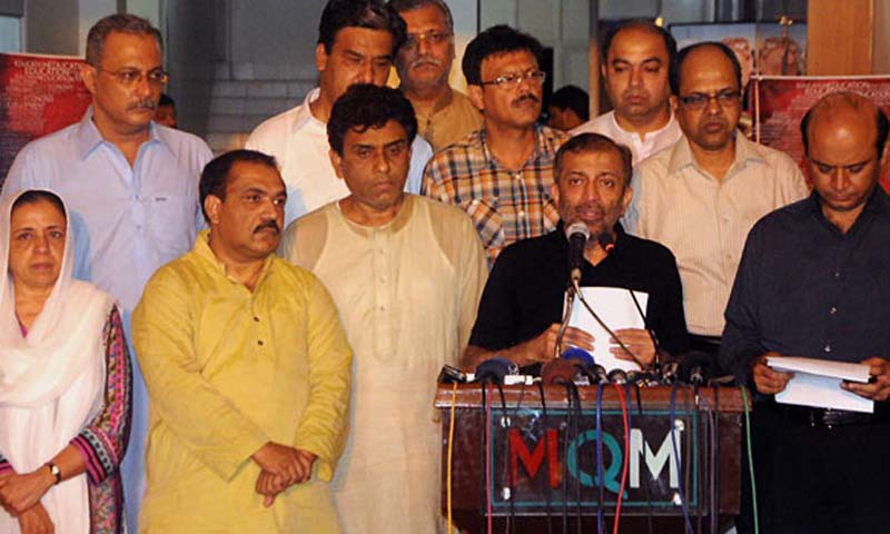 Deputy Convener of MQM, Farooq Sattar addressing a press conference at Nine Zero. — Online Photo by Anwar Abbas