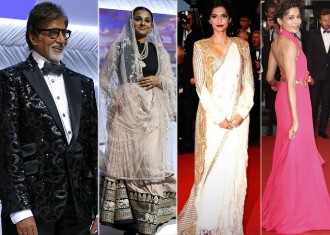 Bollywood actors Amitabh Bachchan, Vidya Balan, Sonam Kapoor, Freida Pinto at the opening ceremony of 66th Cannes Film Festival. —AP (File) Photo