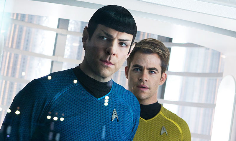 "Film image released by Paramount Pictures shows, Zachary Quinto, left, as Spock and Chris Pine as Kirk in a scene in the movie, ""Star Trek Into Darkness,"" from Paramount Pictures and Skydance Productions. —AP Photo"