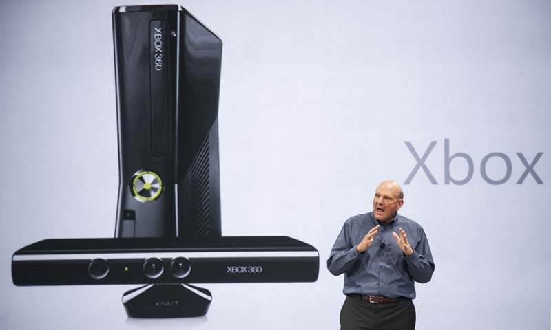 In this June 18, 2012 photo, Microsoft CEO Steve Ballmer comments on Microsoft Xbox before unveiling its new Surface, a tablet computer to compete with Apple's iPad at Hollywood's Milk Studios in Los Angeles. — AP Photo