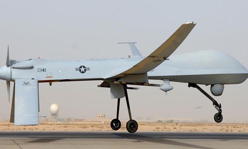 This undated US Air Force photo shows an MQ-1 Predator unmanned aircraft as it prepares for takeoff in support of operations in Southwest Asia. — Photo AFP