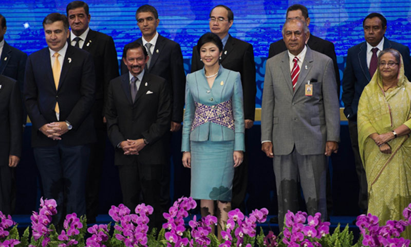 Asia-Pacific leaders pose for a photo at the 2nd regional water summit in Chiang Mai on May 20, 2013. — Photo by AFP