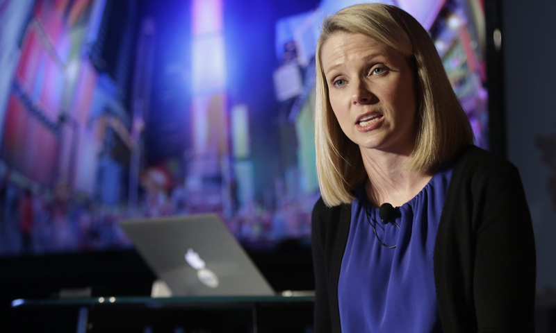Yahoo CEO Marrissa Mayer speaks during a news conference Monday, May 20, 2013, in New York. — AP Photo