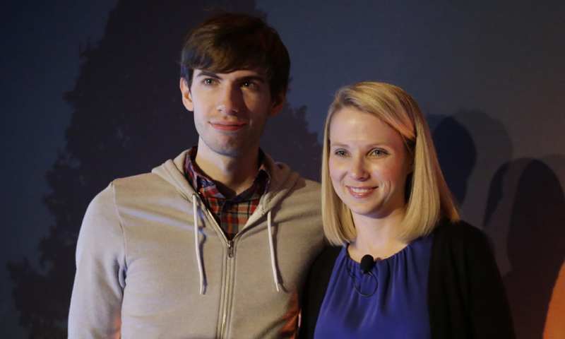 Yahoo CEO Marissa Mayer, and Tumblr Chief Executive David Karp speak during a news conference Monday, May 20, 2013, in New York. — AP Photo