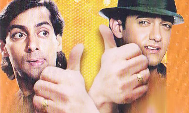 (L-R) Salman Khan and Aamir Khan in Andaz Apna Apna