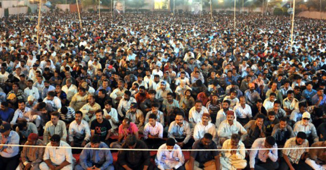 Workers and supporters of MQM listen to Altaf Hussain's speech in Karachi on Tuesday. – Photo courtesy mqm.org