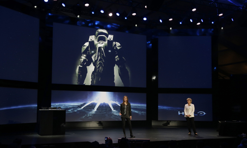 Nancy Tellem, right,  and Bonnie Ross, left, announce a new Halo live-action TV series for Xbox Live. — AP Photo