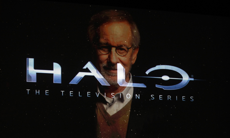 Director Steven Spielberg is shown on screen discussing his partnership on Halo the television Series. — Reuters Photo