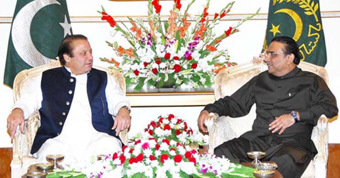 A Nawaz Sharif, Asif Zardari coalition is formed. — File photo.