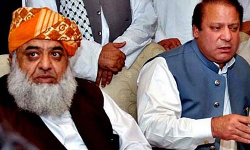 File photo shows Jamiat Ulema-i-Islam Fazl (JUI-F) chief Maulana Fazlur Rehman and Pakistan Muslim League – Nawaz (PML-N) chief Mian Nawaz Sharif.—File Photo