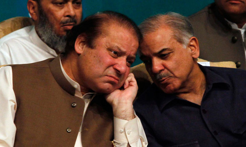 Nawaz Sharif (L) with brother Shahbaz Sharif (R).—File Photo by Reuters