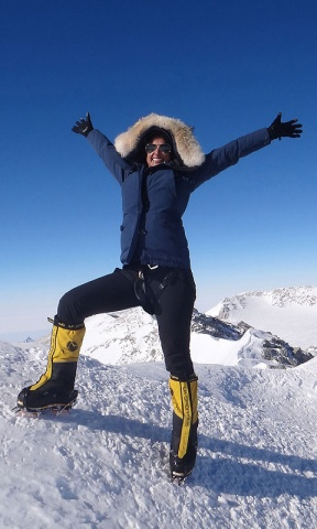 Raha Moharrak shows her posing as she summits Mount Everest.–Photo by AFP