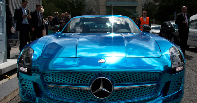 A Mercedes SLS AMG electric is pictured during the Electric Mobility conference of German government on May 27, 2013 in Berlin. — AFP Photo