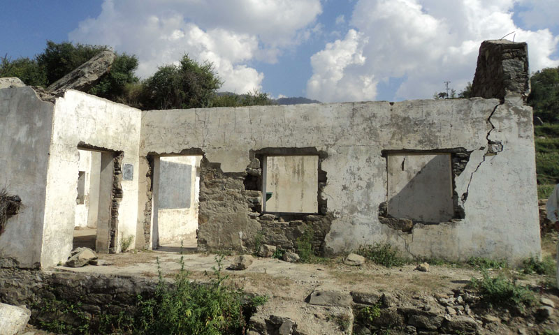 View of a destroyed school in Saar village of Charbagh, Swat. — Photos by author.