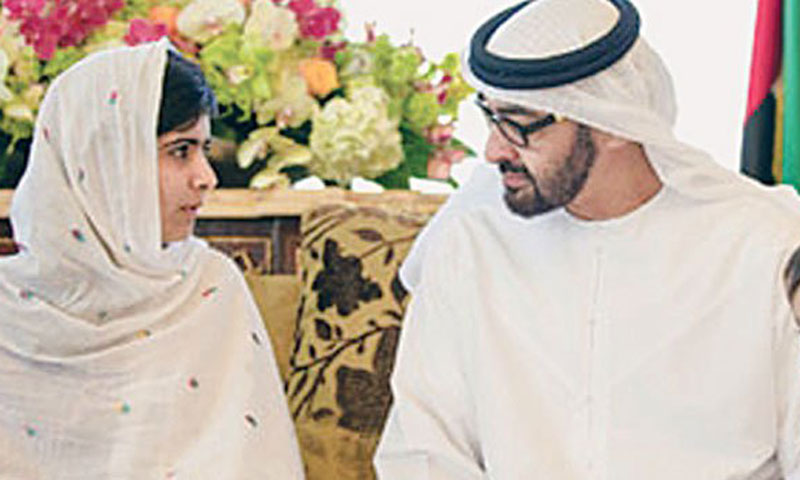 Malala Yousufzai talks to General Shaikh Mohammad Bin Zayed Al Nabyan, Crown Prince of Abu Dhabi, here on Monday.—Photo by Dawn