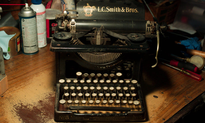 An antique L.C. Smith & Brothers typewriter is seen in the shop of Ermanno Marzorati, owner of Star Office Machines in Los Angeles. —AFP Photo
