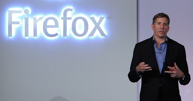 Mozilla's Chief Executive Officer Gary Kovacs presents the new Firefox OS mobile operating system in Barcelona on February 24, 2013. — AFP File Photo