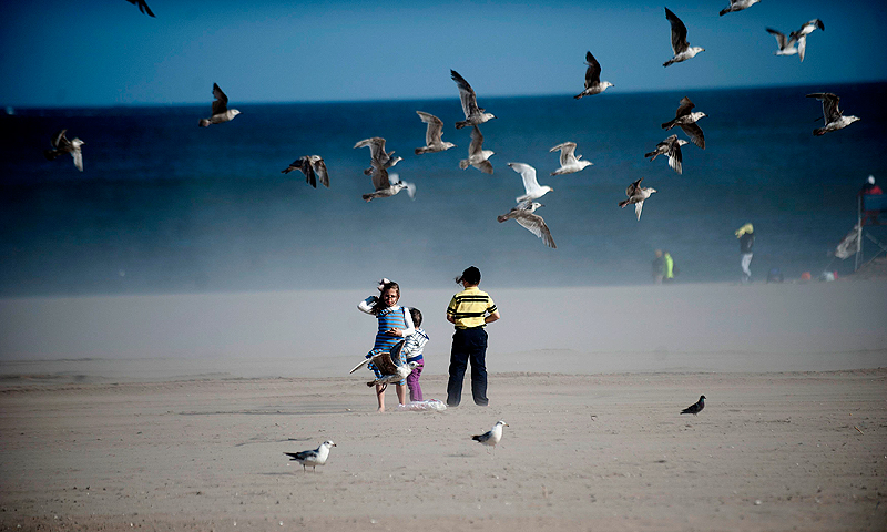 Seagulls fly over children on the beach at Coney Island in the Brooklyn Borough of New York, May 26, 2013. Seven months after Hurricane Sandy, New York's beaches have reopened before the Memorial Day holiday. — Reuters Photo