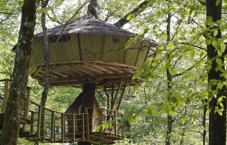 General view of a tree-house in Le Pian Medoc, southwestern France, April 24, 2009. France's Natura Cabana company rents various cabins perched in the trees for ecological holidays.
