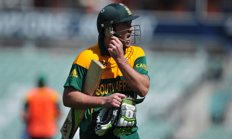South Africa's AB de Villiers walks off the field of play after losing his wicket off the bowling of Asad Ali — AP Photo