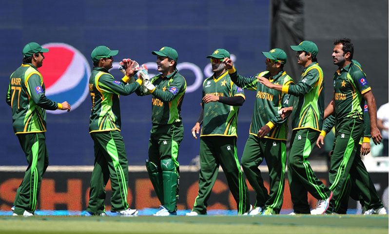 Pakistan players celebrate after Imran Farhat (2L) caught out South Africa's David Miller — AFP Photo