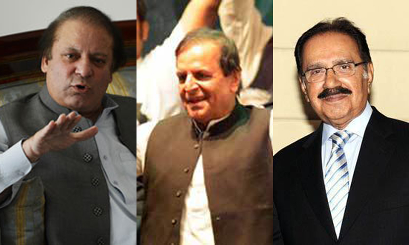 Nawaz Sharif, Makhdoom Javed Hashmi and Makhdoom Amin Faheem submitted their nomination papers today. — File photos.