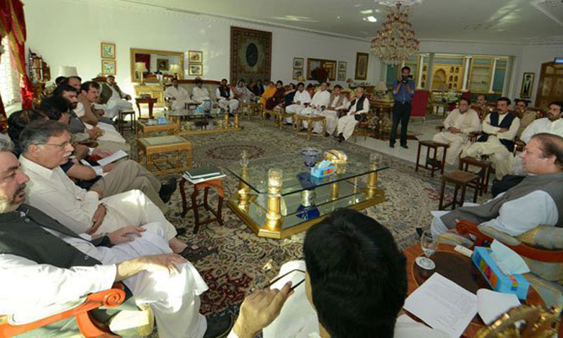 Prime Minister & PML-N president Muhammad Nawaz Sharif chairing a high level meeting. File Photo by INP