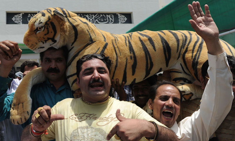 Supporters of Pakistan's Premier-elect Nawaz Sharif, celebrate outside parliament in Islamabad on June 5, 2013. — AFP Photo