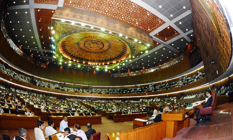 Pakistani lawmakers gather for the selection of the new prime minister at the National Assembly in Islamabad on June 5, 2013. — AFP Photo